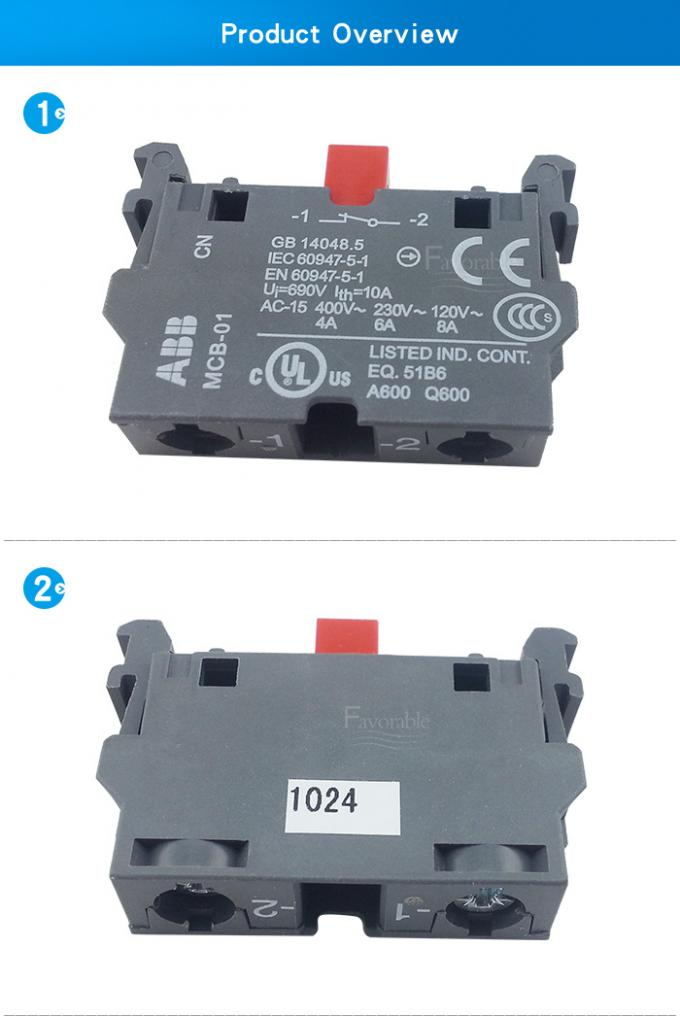 Switch Abb#MCB01 , NC Contact Block For Auto Cutter GTXL 925500594 Machine